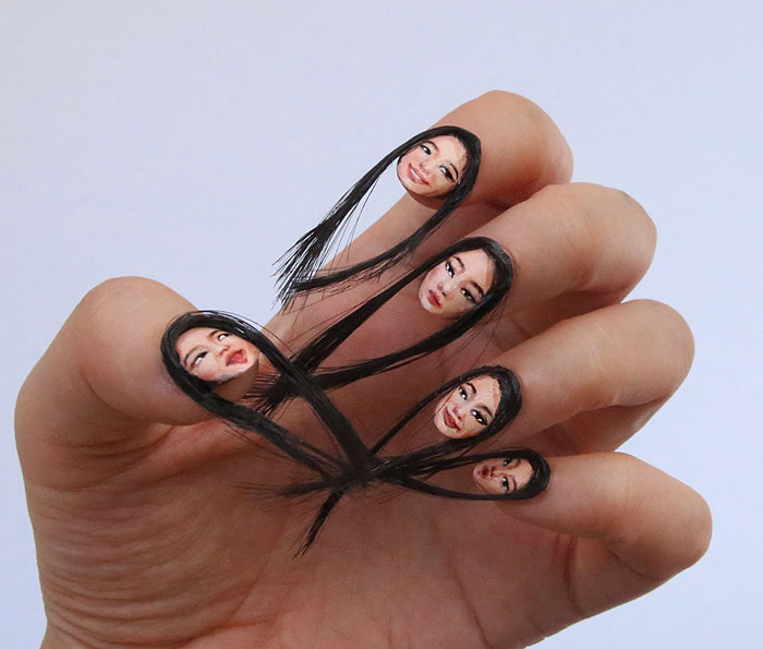 Diseño de uñas con rostros