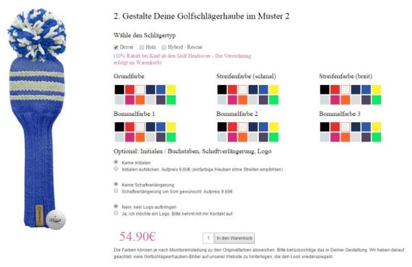 Farbauswahl für die gestrickten Schlägerhauben Unikate
