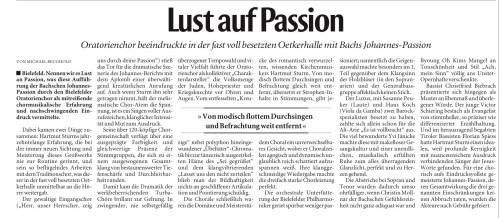 """Foto: Rezension der NW """"Johannespassion"""" in der Oetkerhalle"""