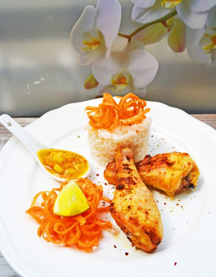 Exotisch, fruchtig, gut! Kokos-Limetten-Hühnchen mit Mangochutney