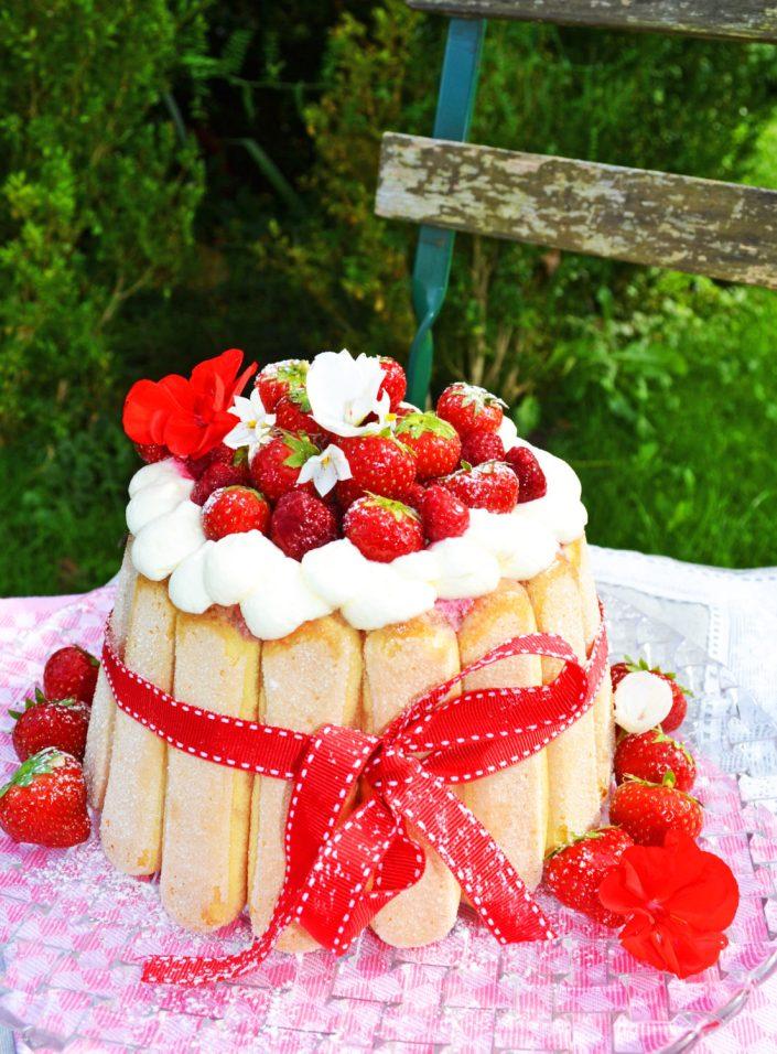 C'est très chic! Himbeer-Erdbeer-Charlotte mit Holunderblütensirup