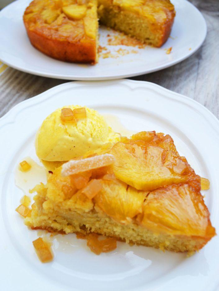 Upside down! Gestürzter Ananaskuchen mit kandiertem Ingwer