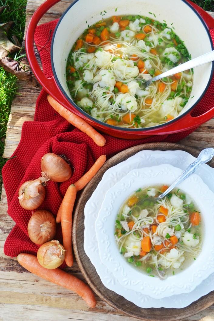 Mit viel Liebe gekocht! Hühnersuppe mit Gemüse und Nudeln