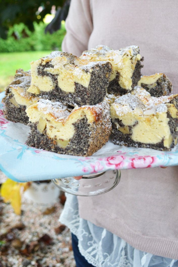 Saftige, gefleckte Stückchen! Mohn-Topfen-Kuchen mit Äpfeln