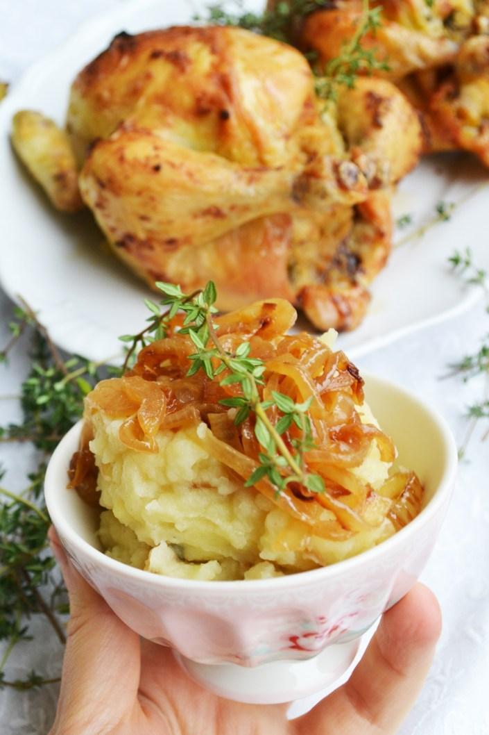 Gut Gefüllt! Birnen-Maroni-Hühnchen mit Kartoffel-Zwiebel-Püree