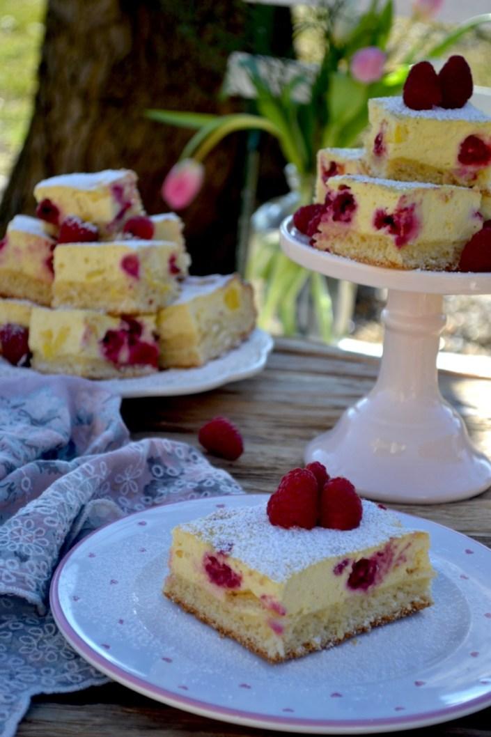 Süßes Frühlingserwachen! Topfen-Blechkuchen mit Himbeeren und Mangostückchen