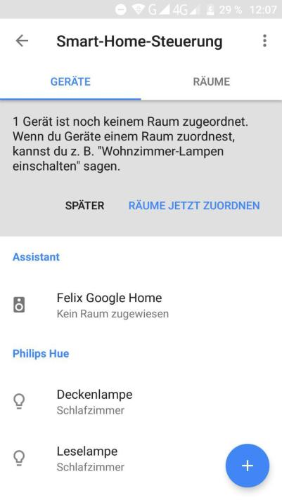 google home raumzuweisung