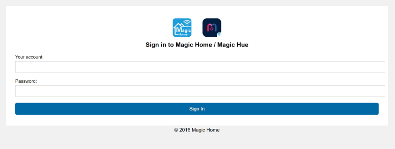 Login Magic Home / Magic Hue