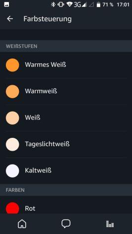 Alexa App Lampensteuerung Farben 1