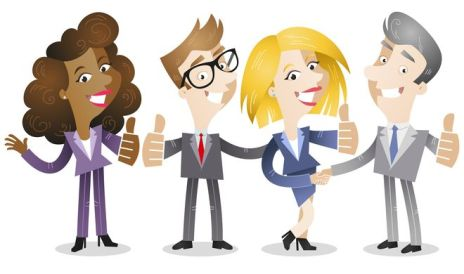 Business people, thumbs up, group, agreement