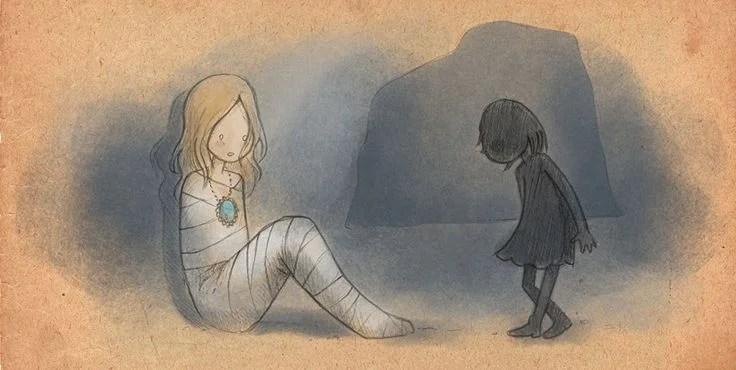 Dibujo de una niña en forma de sombra acercándose a una mujer con el cuerpo vendado.