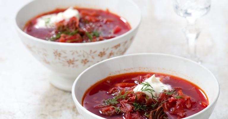 Sopa de remolacha asada con dukkah