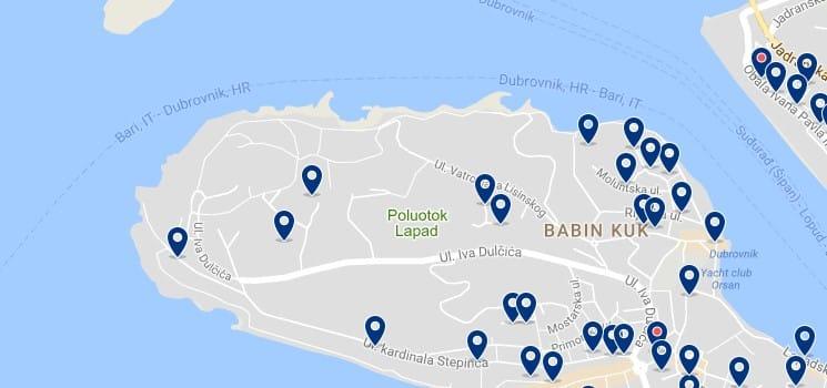 Alojamiento en Babin Kuk - Clica sobre el mapa para ver todo el alojamiento en esta zona