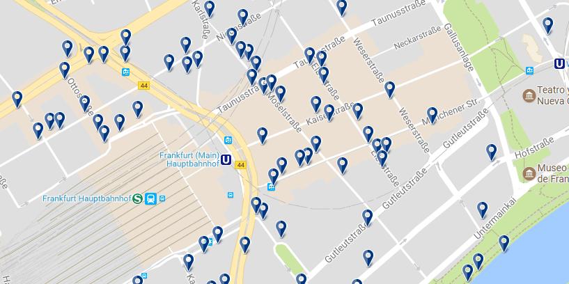 Alojamiento en Frankfurt - Banhofsviertel - Clica sobre el mapa para ver todo el alojamiento en esta zona