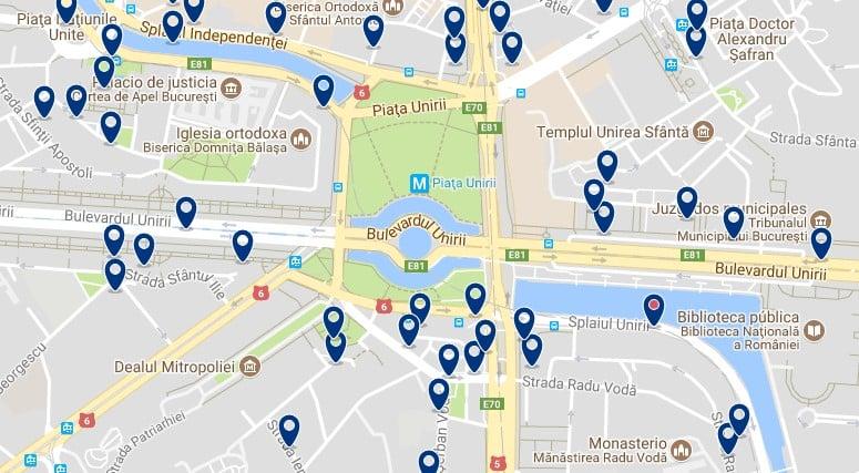 Alojamiento en Bucarest – Centro Cívico y Piata Unirii – Clica sobre el mapa para ver todo el alojamiento en esta zona