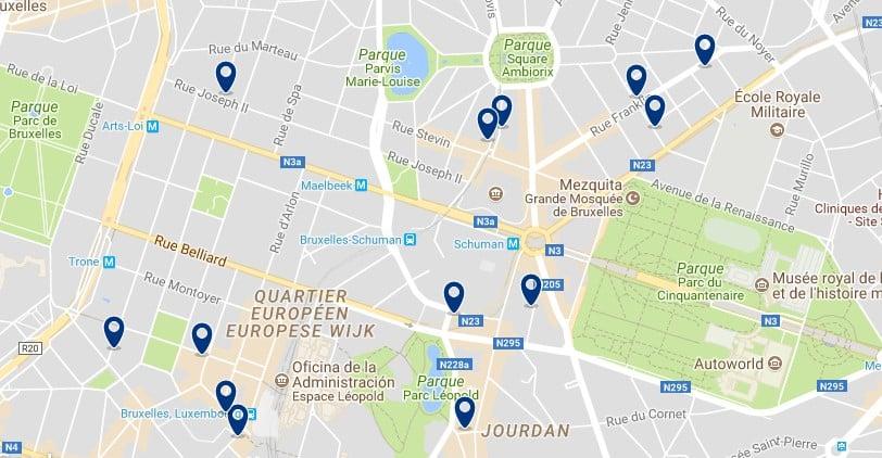 Alojamiento en el European Quarter - Clica sobre el mapa para ver todo el alojamiento en esta zona