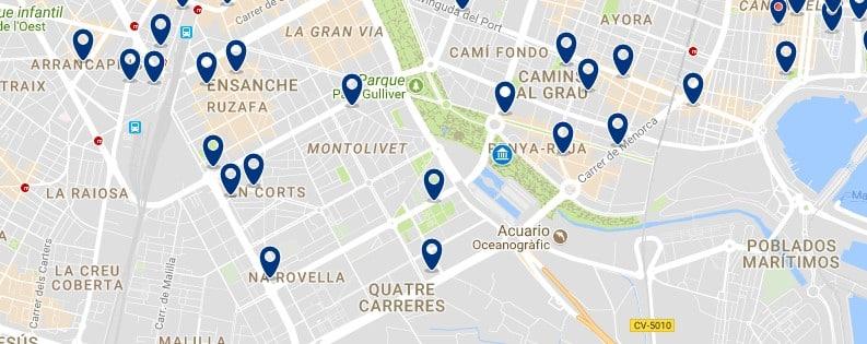 Alojamiento cerca de la Ciudad de las Artes y las Ciencias - Clica sobre el mapa para ver todo el alojamiento en esta zona