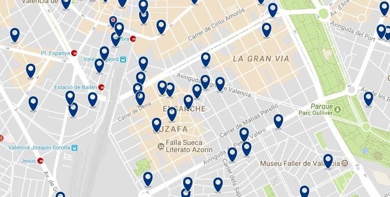 Alojamiento en Eixample - Clica sobre el mapa para ver todo el alojamiento en esta zona