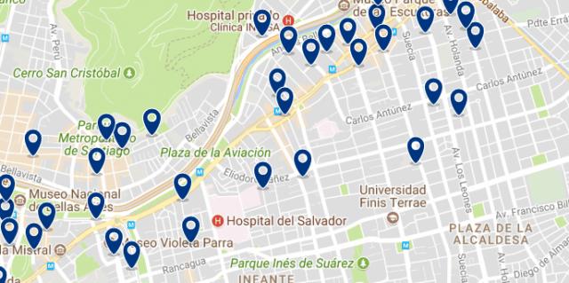 Alojamiento en Providencia - Clica sobre el mapa para ver todo el alojamiento en esta zona