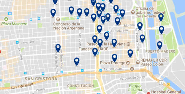 Accommodation in San Telmo - Click on the map to see all available accommodation in this area