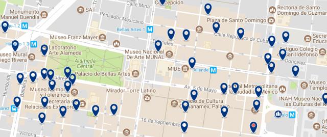Mejores zonas donde alojarse en Ciudad de México - Centro Histórico - Clica sobre el mapa para ver todo el alojamiento en esta zona