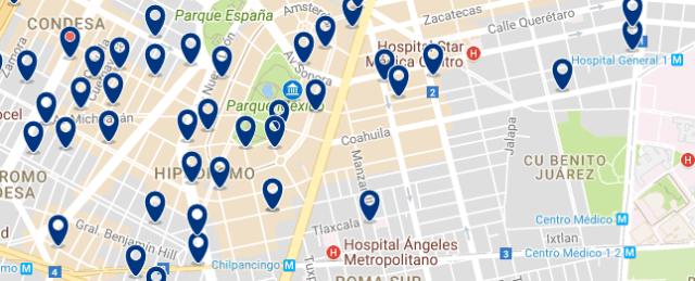 Dónde dormir en Ciudad de México - Condesa - Clica sobre el mapa para ver todo el alojamiento en esta zona