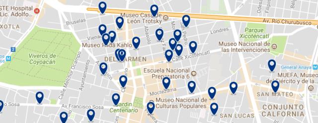 Ciudad de México - Coyoacán - Clica sobre el mapa para ver todo el alojamiento en esta zona