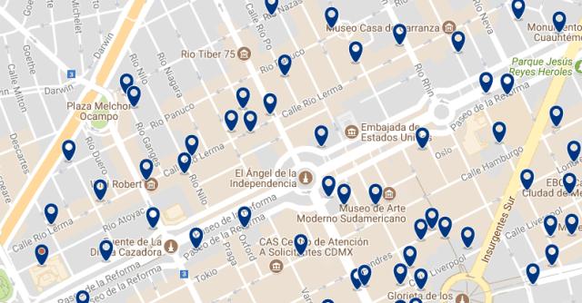 Mejores zonas para alojarse en Ciudad de México - Reforma - Clica sobre el mapa para ver todo el alojamiento en esta zona