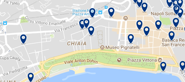 Alojamiento en Chiaia - Clica sobre el mapa para ver todo el alojamiento en esta zona