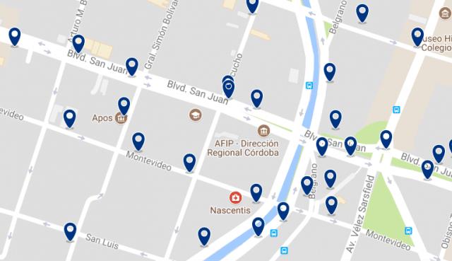 Alojamiento cerca del Paseo de las Artes - Clica sobre el mapa para ver todo el alojamiento en esta zona