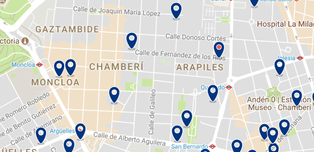 Accommodation in Chamberí - Click on the map to see all available accommodation in this area