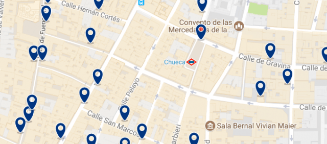 Accommodation in Chueca - Click on the map to see all available accommodation in this area