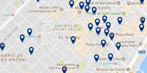 Alojamiento en El Raval - Clica sobre el mapa para ver todo el alojamiento en esta zona