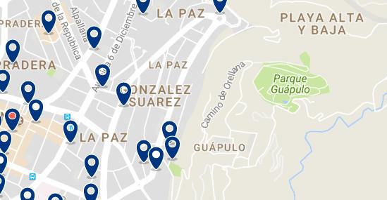 Alojamiento en Guápulo - Clica sobre el mapa para ver todo el alojamiento en esta zona