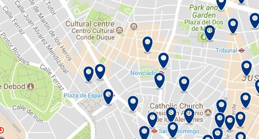 Alojamiento en Malasaña - Clica sobre el mapa para ver todo el alojamiento en esta zona