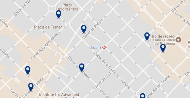 Alojamiento en Poblenou - Clica sobre el mapa para ver todo el alojamiento en esta zona