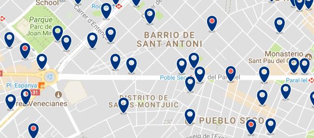 Alojamiento en Sants-Montjuïc - Clica sobre el mapa para ver todo el alojamiento en esta zona