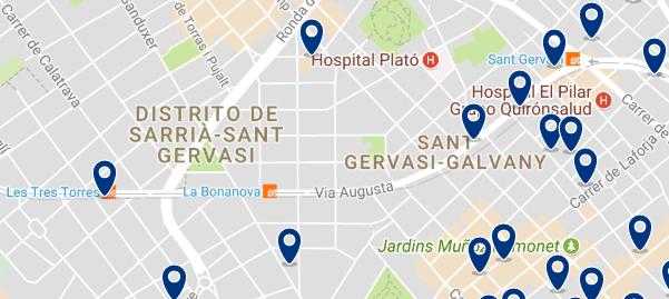 Alojamiento en Sarrià-Sant Gervasi - Clica sobre el mapa para ver todo el alojamiento en esta zona