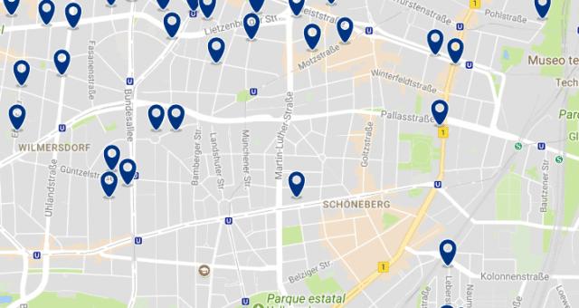 Alojamiento en Schöneberg - Clica sobre el mapa para ver todo el alojamiento en esta zona