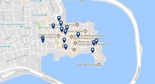 Alojamiento en el Centro Histórico de Panamá - Clica sobre el mapa para ver todo el alojamiento en esta zona