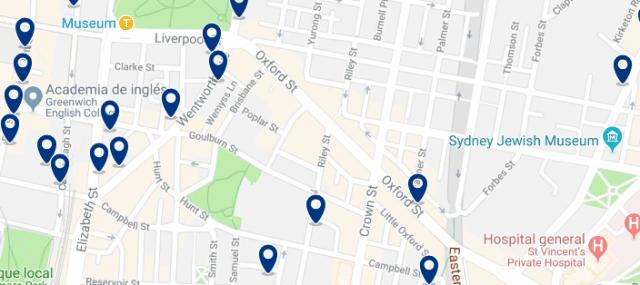 Alojamiento en Darlinghurst - Clica sobre el mapa para ver todo el alojamiento en esta zona