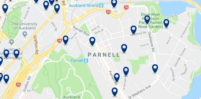Alojamiento en Parnell - Clica sobre el mapa para ver todo el alojamiento en esta zona