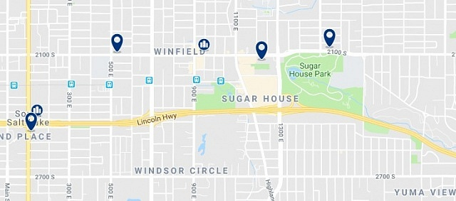 Accommodation in Sugar House - Click on the map to see all accommodation in this area