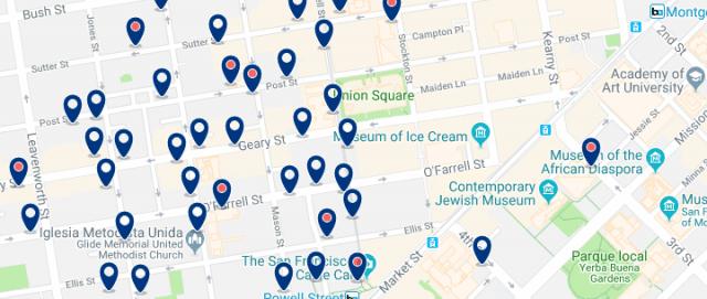 Alojamiento en Union Square - Clica sobre el mapa para ver todo el alojamiento en esta zona
