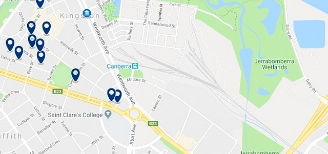 Accommodation around Canberra Railway Station - Click on the map to see all accommodation in this area
