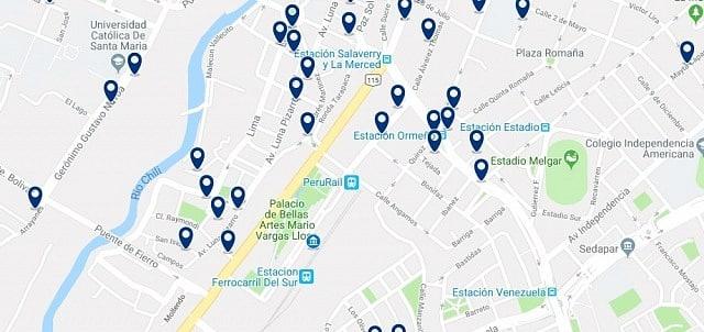 Alojamiento cerca de la Estación de trenes de Arequipa - Haz clic para ver todo el alojamiento disponible en esta zona