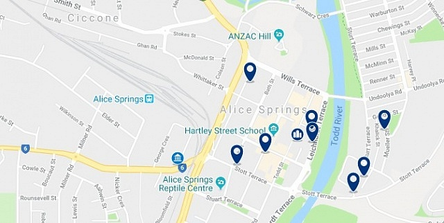 Accommodation in Alice Springs City Centre - Click on the map to see all accommodation in this area