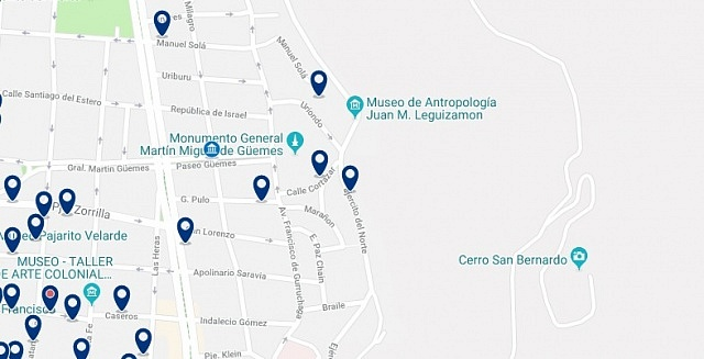 Accommodation near the Monument to Güemes - Click on the map to see all available accommodation in this area