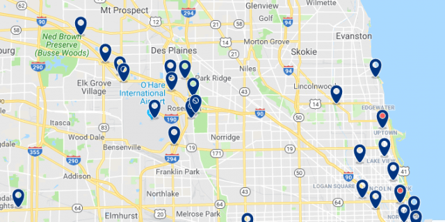 Accommodation near O'Hare International Airport - Click on the map to see all available accommodation in this area
