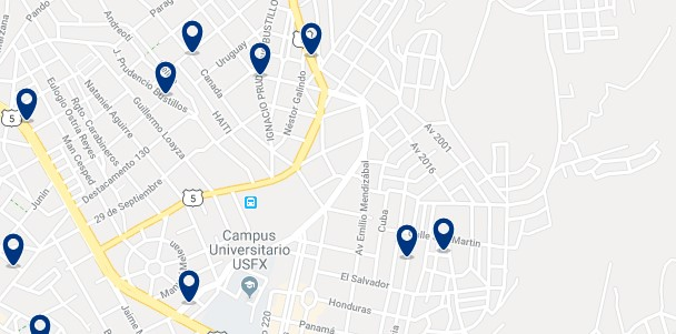 Alojamiento cerca del terminal de autobuses de Sucre - Haz clic para ver todo el alojamiento disponible en esta zona